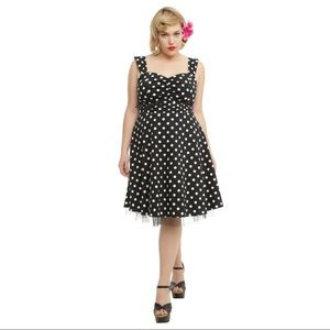 HOT TOPIC Black and White Polka Dot Swing Dress